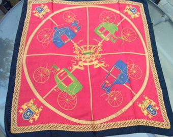 Rare vintage Authentic CELINE Paris EQUESTRIAN  royal carriage Scarf silk  chiffon square hand Rolled  great price horse crown coat of arms
