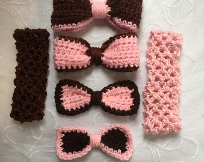 Set Of Bow Accessories -Crocheted Bows-Do It Yourself Bows-Baby Shower Gift-Girls Headbands