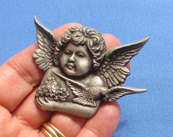 Reserved Listing For Leslie Retro Pewter Cherub Angel Dove  Refrigerator Magnet