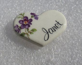 Retro Heart Shaped Violet Flower Janet Earthly Endeavors Inc Lapel Pin