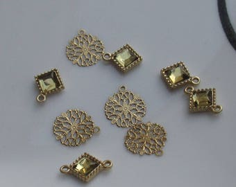 Lot Of Salvaged Stamped Metal Findings Golden Colored Acrylic Dangles