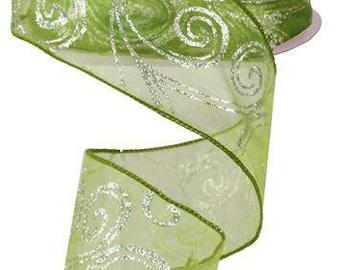"2.5"" Wired Ribbon, 50 Yd Roll, Lime Green Swirls, Silver Glitter Ribbon, Glitter, Wreath Supply, Christmas Ribbon, DIY, Holiday, Floral, Q2"