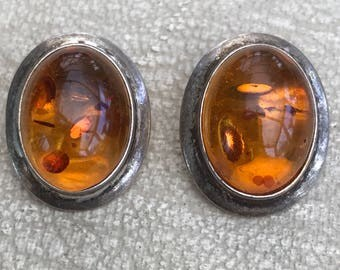 Amber and Silver Clip on Earrings