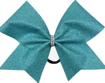 Mermaid Blue Glitter Cheer Bow