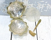Clam Shell Dish With Small Spoon Gold Metal Jewelry Dish Metal Serving Dish with Glass Insert Butter Candy Peanut Caviar Bowl