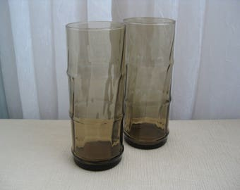 Set of Two Vintage Tall Bamboo Tiki Brown Glass Tumblers Libbey