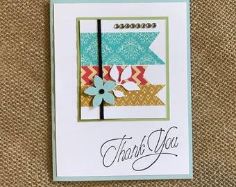 Handmade Greeting Card: Thank You Card, Merci, Gracias, Fancy thankyou, modern thank you