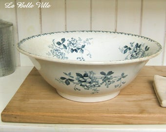 Antique french serving bowl dish - Blue transferware bowl - Vintage Saint Amand white and blue faience earthenware china - Acacia pattern