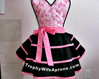Apron # 1280 - Beautiful breast cancer retro apron