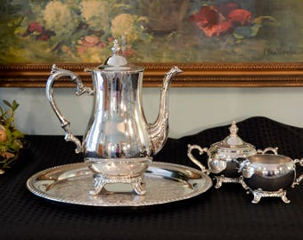Wm Rogers Silver Plate Tea Service - 4 Piece Silver Tea Set - Silver Teapot - Silver Cream & Sugar with Lid - Round Silver Serving Tray