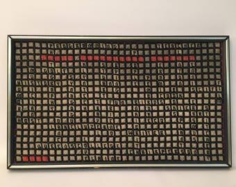 1970s Random Crossword Framed Needlepoint