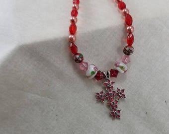 Glass Beads,Pendant,Necklace,handmade,jewelry,cross,cross pendant, pendant necklace,cross necklace,cross necklace,church,religion,belief,