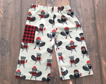 Baby, Toddler and Boys Flannel pants, sizes 6-12 months, 2T & 5T,  Pajama Pants, Lounge Pants, Ready to Ship!  Beavers, lumberjacks, plaid