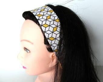 Bandeau cheveux femme graphique jaune et blanc