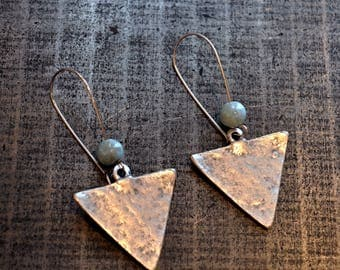 Bohemian Atlantis Larimar  Handmade Ethnic Silver Earrings