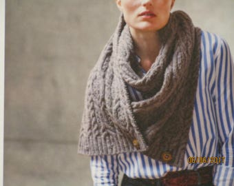 Knitting Pattern, Brooklyn Tweed, 'Frieze', Cabled Scarf with Buttons