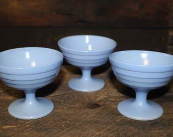 Hazel Atlas Moderntone Platonite Pastel Blue Custard Cups