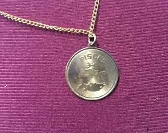 Vintage pisces medallion sterling silver