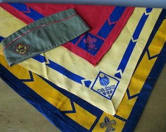 Vintage lot BOY Scout- Cub Scout scarves -hat- bandana- scarf -1950s /60s -Boy Scout memorabilia -official Boy Scout scarf -garrison cap