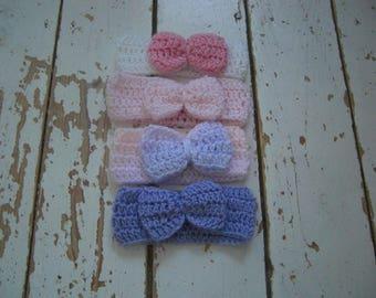 Handmade Crochet newborn headbands x 4
