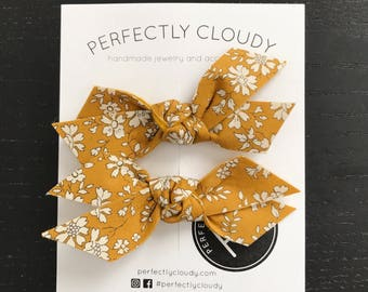 MUSTARD FLORAL set of 2 || pigtail bows - baby bows - girl hair clip - rifle paper bow - felt bow - bow aligator clip - baby headband bow