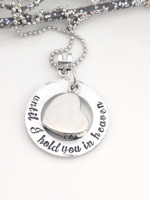 Ashes Keepsake-Until I Hold You in Heaven-Urn Jewelry-Heart Urn Necklace-Cremation Jewelry-Metal Stamped Jewelry-Ashes Locket-Urn Pendant