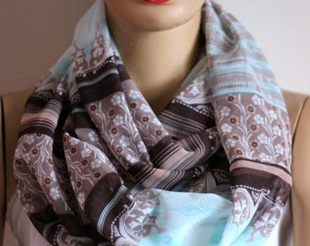 blue brown tribal  infinity scarf, Women Accessories, Scarf, Accessories, Scarves, Gift Ideas, Fashion Accessories, For Her , summer