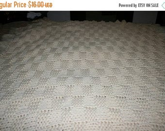 Sale Vintage Off White/Beige Crocheted Afghan, Basket Weave Pattern