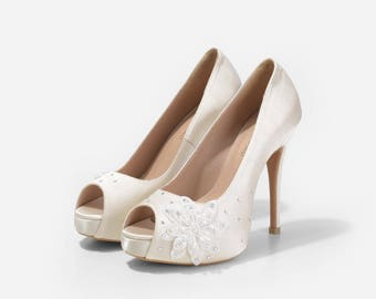 Lady Lisa Ivory Satin Wedding Heels, Satin Bridal Heels with Floral Appique, Ivory Wedding Shoes with Crystal