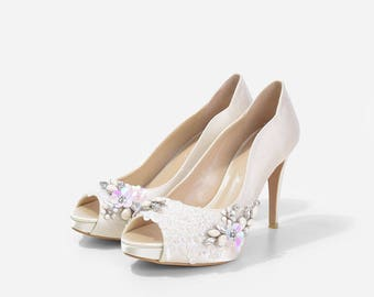 Royal Grace Floral Beaded Wedding Shoes, Floral Beaded Satin Heels, Beaded Bridal Heels, Crystal Applique Wedding Heels