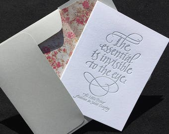 """Letterpressed Greeting Card with Calligraphic Quote from """"The Little Prince"""""""