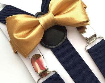 Gold bow tie and Navy Blue Suspenders set. /Adults/ Kids