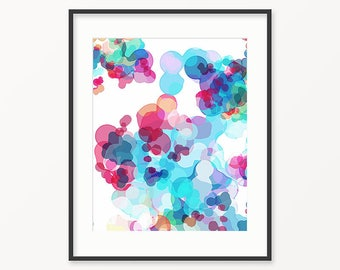 Printable Art, Pink Blue Turquoise Print, Colorful Bubbles Geometric Art, Large Wall Decor, Modern Art Print, Instant Download, Gift for Her