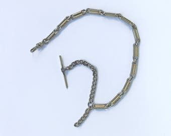 1920s Vintage Dual Toned Gold Silver Pocket Watch Chain - Art Deco