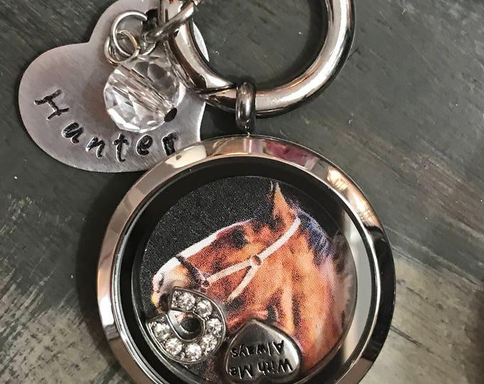 Rainbow bridge horse memorial locket personalized