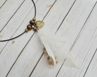 Tribal necklace natural white feathers pendant wooden beads owl feathers ladies bohemian jewelery handmade jewelry Indian gypsy