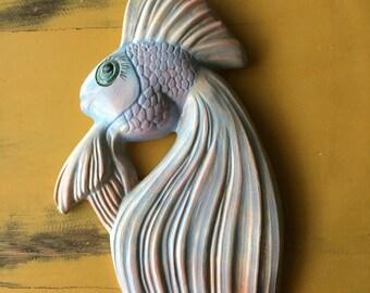 Vintage Chalkware Fish Wall Plaque
