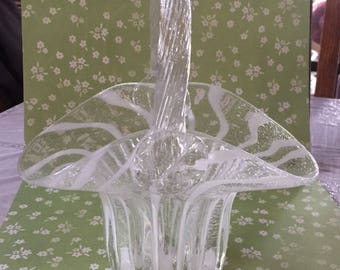 Free Shipping Art Glass Basket/Vase Clear with White Swirls Bubble Glass Hand Blown