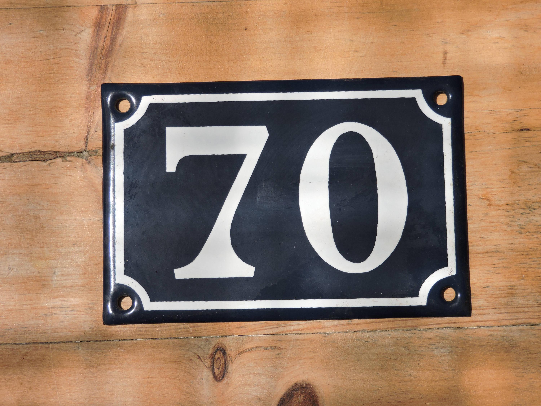 Preferred Vintage French Enamel House Number 70- French Address Sign  XG69