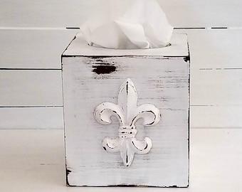 Kleenex holders - tissue covers - kleenex covers - fleur de lis - bathroom accessories - tissue holders - shabby chic decor
