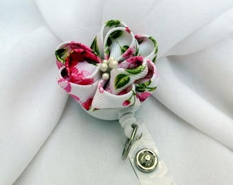 Retractable ID Badge Holder Kanzashi Flower in Japanese Kimono Print