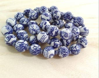 Blue white vintage long beaded necklace Chinese porcelain hand-knotted necklace blue white elephant painted ceramic jewelry Gift for her