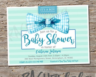 Bow tie, baby shower printable invitation, digital print