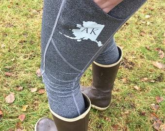 Side Pockets Active Pants, AK, Alaska Pride, Snowdandi Arts, Snowdandi, Yoga Pants, Running Pants, Mom Pants
