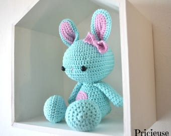 Amigurumi Kawaii rabbit with crochet turquoise and pink