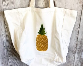 Large Market Tote- Organic Cotton Twill- Hawaiian Pineapple- Handmade