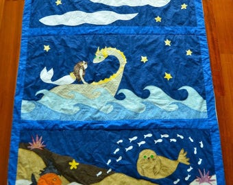 Childrens Mermaid Fantasy Quilt- Handmade in Hawaii- Nighttime Ocean Adventure with Dragons- Made to Order
