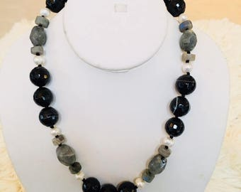 """Black agate, labradorite and fresh water pearl 18"""" long necklace."""