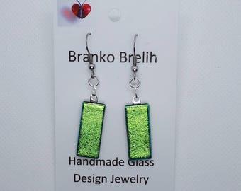 Green Blue Dichroic Art Glass Dangle Earrings