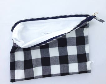 gingham zipper bag, accessory pouch, large pencil pouch, travel accessory, pencil case, black and white checks, gift for her, gift under 20